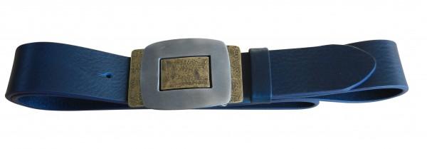 Blauer Gürtel mit Bicolor Schließe
