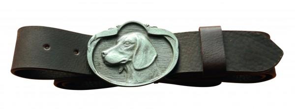 Dunkelbrauner Gürtel mit Vorstehhund Schließe