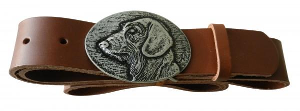 Cognacfarbener Gürtel mit Dackel Schließe