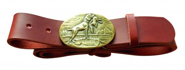 Cognacfarbener Gürtel mit Sperlingshund Schließe